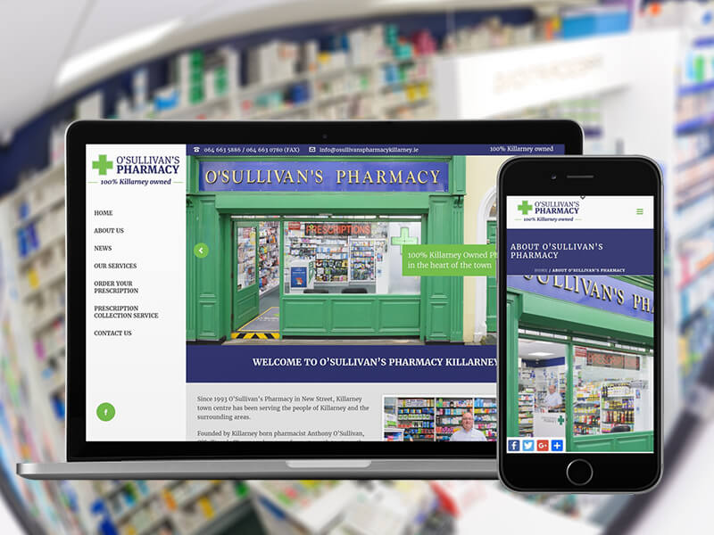 O'Sulivan's Pharmacy Killarney mobile-friendly website now available online at https://www.osullivanspharmacykillarney.ie